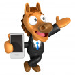 Stock Photo: 3D Horse mascot right hand guides and left hand is holdi