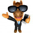 Foto Stock: Wear sunglasses 3D Horse mascot left hand guides and rig