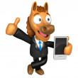 3D Horse Mascot the left hand best gesture and right hand is hol — Stock Photo