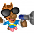 Stock Photo: Wear sunglasses 3D Horse Mascot left hand guides and right h