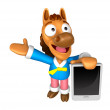 Stock Photo: 3D Horse mascot left hand guides and right hand is holdi