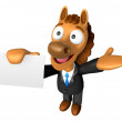 Stockfoto: 3D Horse mascot right hand guides and left hand is holdi