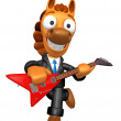 Wear sunglasses 3D Horse has to be playing the Red electric guit — Stock Photo