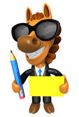 Wear sunglasses 3D Horse Mascot hand is holding a Yellow paper a — Stockfoto