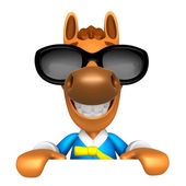 Wear sunglasses 3D Horse Mascot holding a big board with both ha — Stock Photo