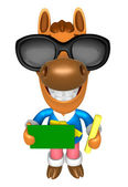 Wear sunglasses 3D Horse Mascot hand is holding a Chalk and Chal — Stock Photo