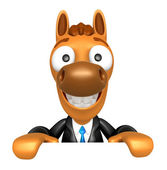 3D Horse Mascot holding a big board with both hands. 3D Animal C — Stock Photo