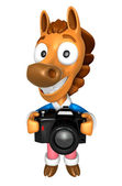 3D Horse character to shoot the Big Camera toward the Front. 3D — Stock Photo
