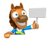 3D Horse mascot hand is holding a picket and board. 3D Animal Ch — Stock Photo