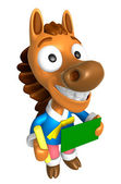 3D Horse Mascot hand is holding a Chalk and Chalkboard. 3D Anima — Stok fotoğraf