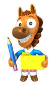 3D Horse Mascot hand is holding a Yellow paper and Pencil. 3D An — Foto Stock