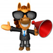 Stockfoto: Wear sunglasses 3D Horse Mascot left hand guides and right h