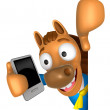 Stock Photo: 3D Horse Mascot hand is holding Smart Phone and Big advert boa