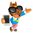 Foto Stock: Wear sunglasses 3D Horse mascot right hand guides and le