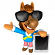 Stock Photo: Wear sunglasses 3D Horse mascot left hand guides and rig