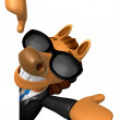 Stockfoto: Wear sunglasses 3D Horse Mascot right hand guides and left h