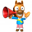 Stockfoto: 3D Horse Mascot right hand guides and left hand is holding a