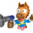 Foto Stock: 3D Horse Mascot right hand guides and left hand is holding a