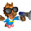 Foto Stock: Wear sunglasses 3D Horse Mascot left hand guides and right h