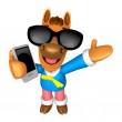 Photo: Wear sunglasses 3D Horse mascot right hand guides and le