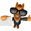 Stockfoto: Wear sunglasses 3D Horse mascot left hand guides and rig