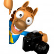 3D Horse mascot hand is holding a Camera and board. 3D Animal Ch — Stock Photo