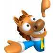 Stockfoto: 3D Horse Mascot left hand guides and right hand is holding a