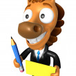 3D Horse Mascot hand is holding a Yellow paper and Pencil. 3D An — Stok fotoğraf