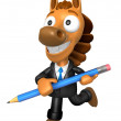 3D Horse Mascot holding a big board with both Pencil. 3D Animal — Stok fotoğraf