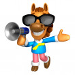 Photo: Wear sunglasses 3D Horse Mascot right hand guides and left h