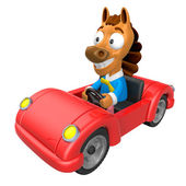 Driving a Red sports car in 3D Horse character. 3D Animal Charac — Stock Photo