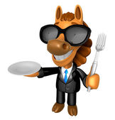 Wear sunglasses 3D Horse Mascot hand is holding a Fork and Plate — Stock Photo