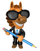 Wear sunglasses 3D Horse Mascot holding a big board with both Pe — Stock Photo