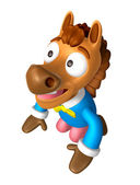 Korea Traditional 3D Horse Mascot is a polite greeting. 3D Anima — Stockfoto