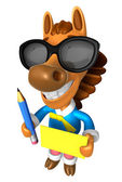 Wear sunglasses 3D Horse Mascot hand is holding a Yellow paper a — Stock Photo