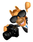 Wear sunglasses 3D Horse mascot hand is holding a Camera and boa — Stock Photo