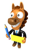 3D Horse Mascot hand is holding a Yellow paper and Pencil. 3D An — ストック写真