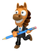3D Horse Mascot holding a big board with both Pencil. 3D Animal — Stockfoto