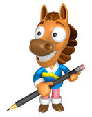 3D Horse Mascot holding a big board with both Pencil. 3D Animal — Zdjęcie stockowe