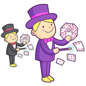 The Magician mascot is a card trick playing. Work and Job Charac — Wektor stockowy
