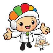 Clinical Dietitian mascot has been welcomed with both hands. Wor — 图库矢量图片