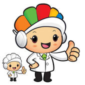 Clinical Dietitian Mascot the hand best gesture. Work and Job Ch — Vettoriale Stock