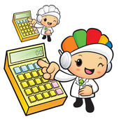 Clinical Dietitian mascot Points to the electronic calculator. W — Cтоковый вектор