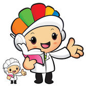 Clinical Dietitian mascot the left hand guides and the right han — Stockvector