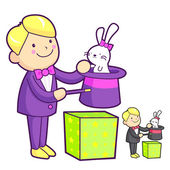 The magician magically pulled a rabbit out of his hat. Work and — Stock Vector