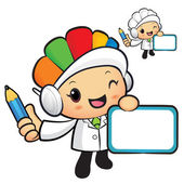 Clinical Dietitian Mascot hand is holding a board and Pencil. Wo — Vector de stock