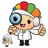 Clinical Dietitian mascot look through a magnifying glass. Work — Vector de stock