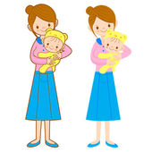 The mother husband holding the baby. Home and Family Character D — Stock Vector