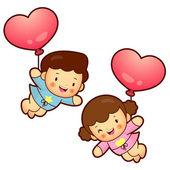 Boys and girls Mascot flying big balloons. Home and Family Chara — Stock Vector