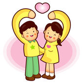 Husband and Wife Mascot love gesture. Home and Family Character — Stock Vector